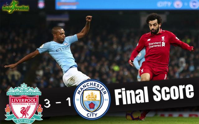 Hasil Pertandingan Liverpool vs Manchester City : Skor Akhir 3 - 1